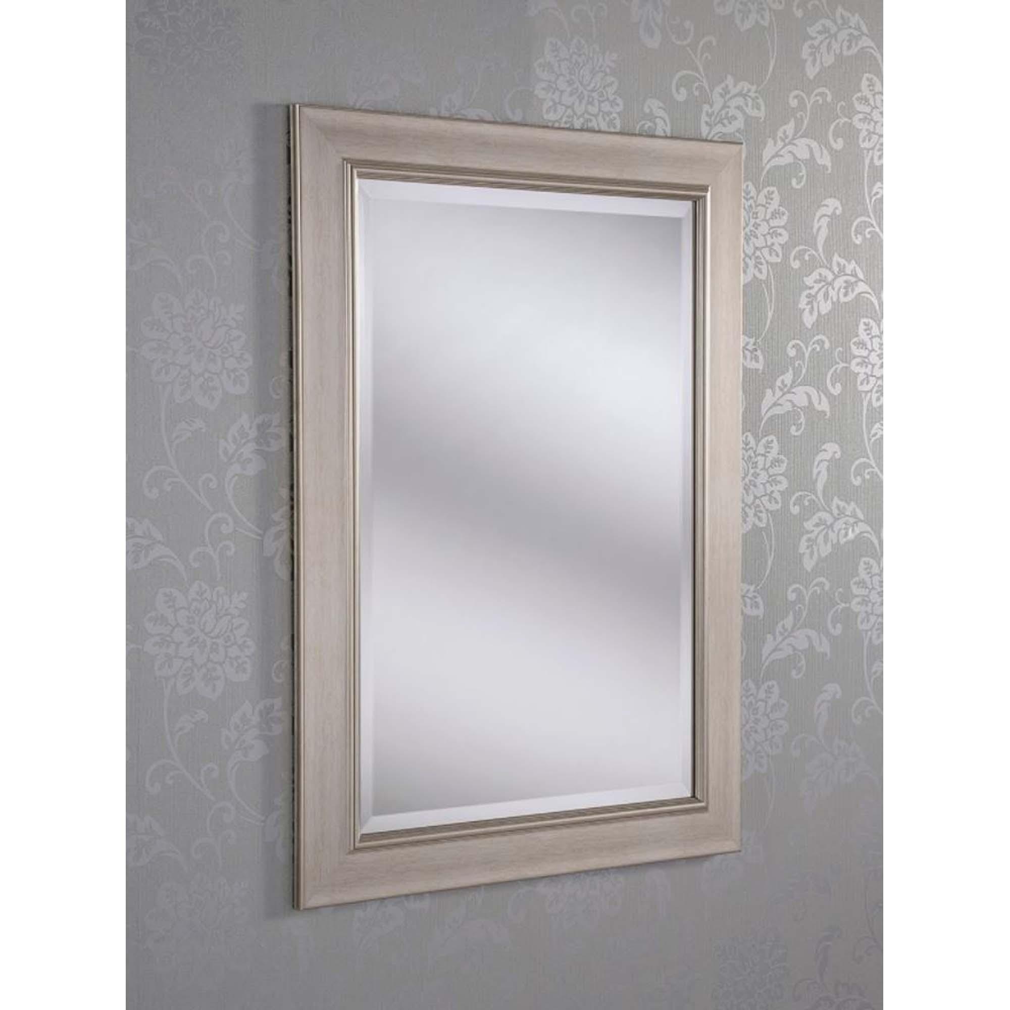Decorative silver framed rectangular wall mirror