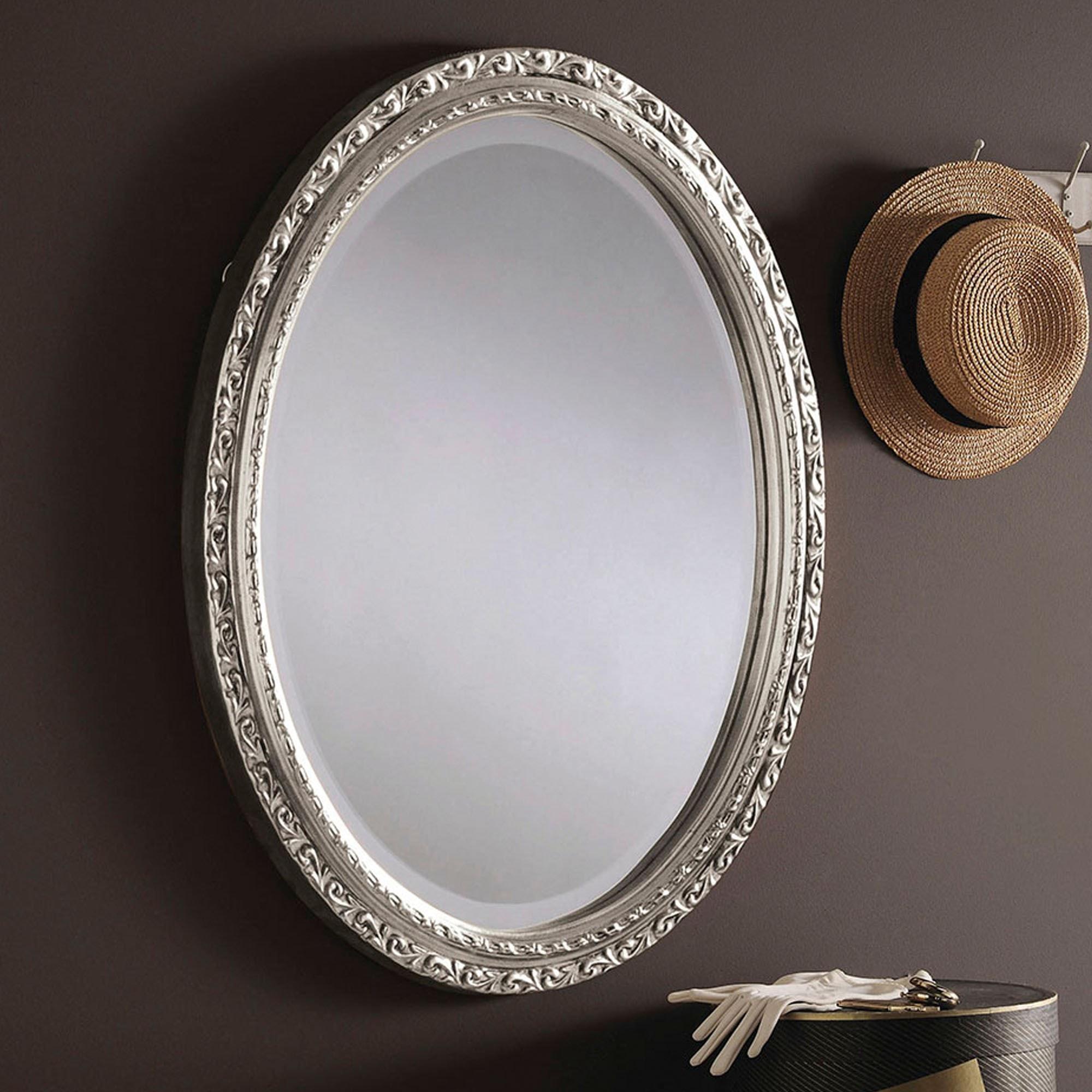 Decorative Silver Ornate Oval Wall Mirror Wall Mirrors