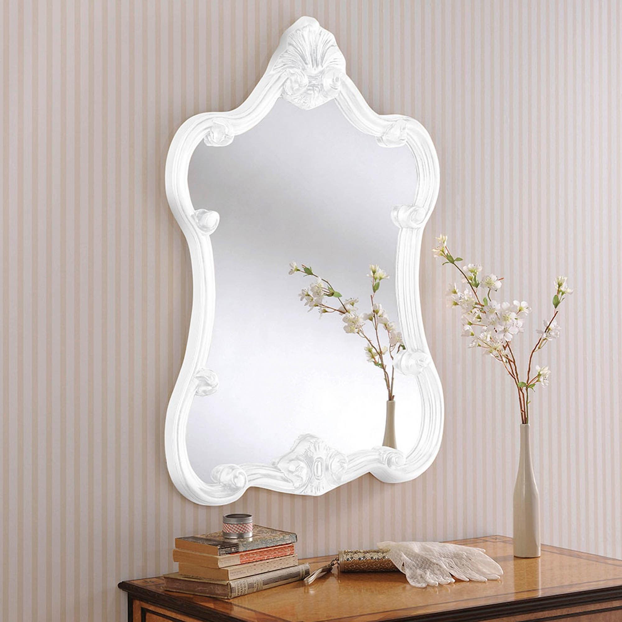 Decorative White Ornate Wall Mirror Wall Mirrors