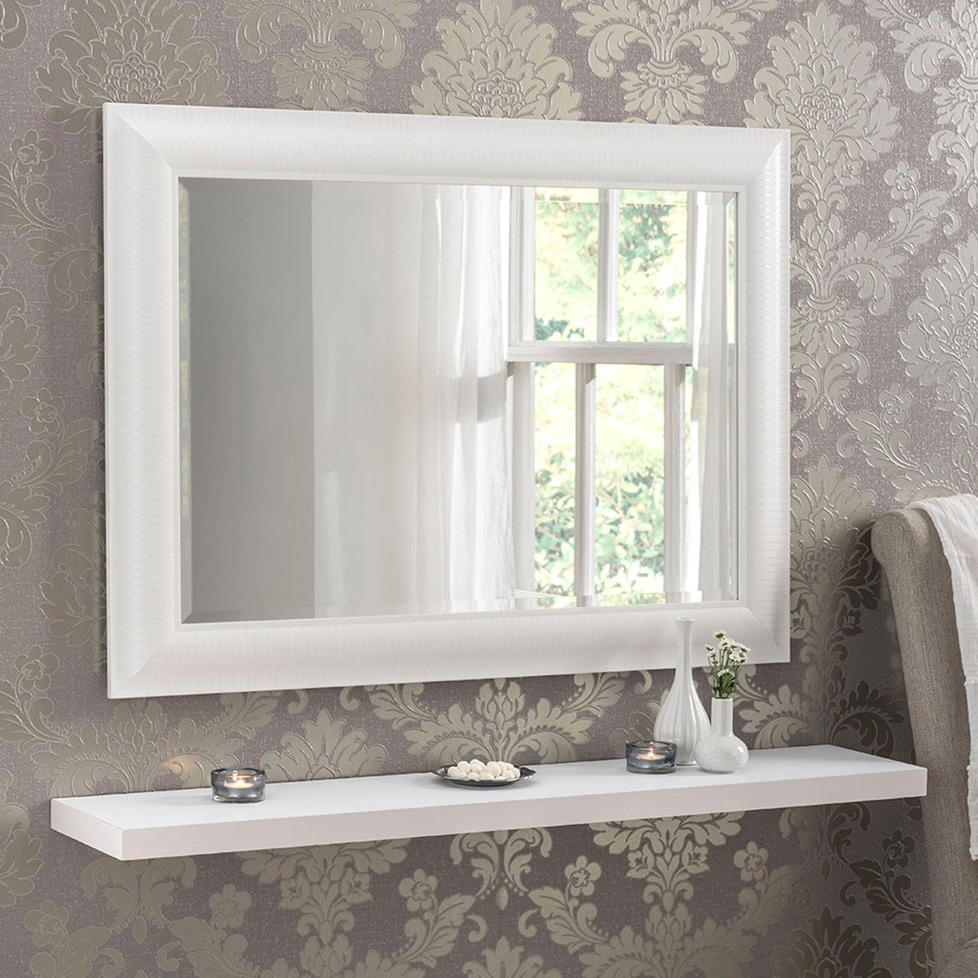 Decorative White Rectangular Bevelled Mirror