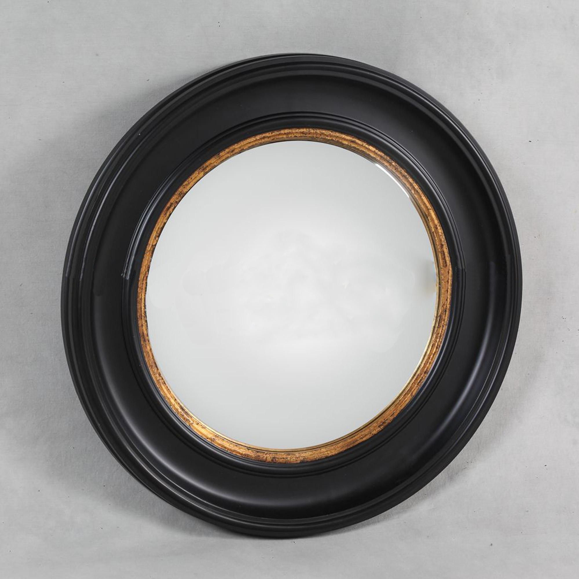 Deep Black Framed Convex Mirror Decorative Coloured Mirrors