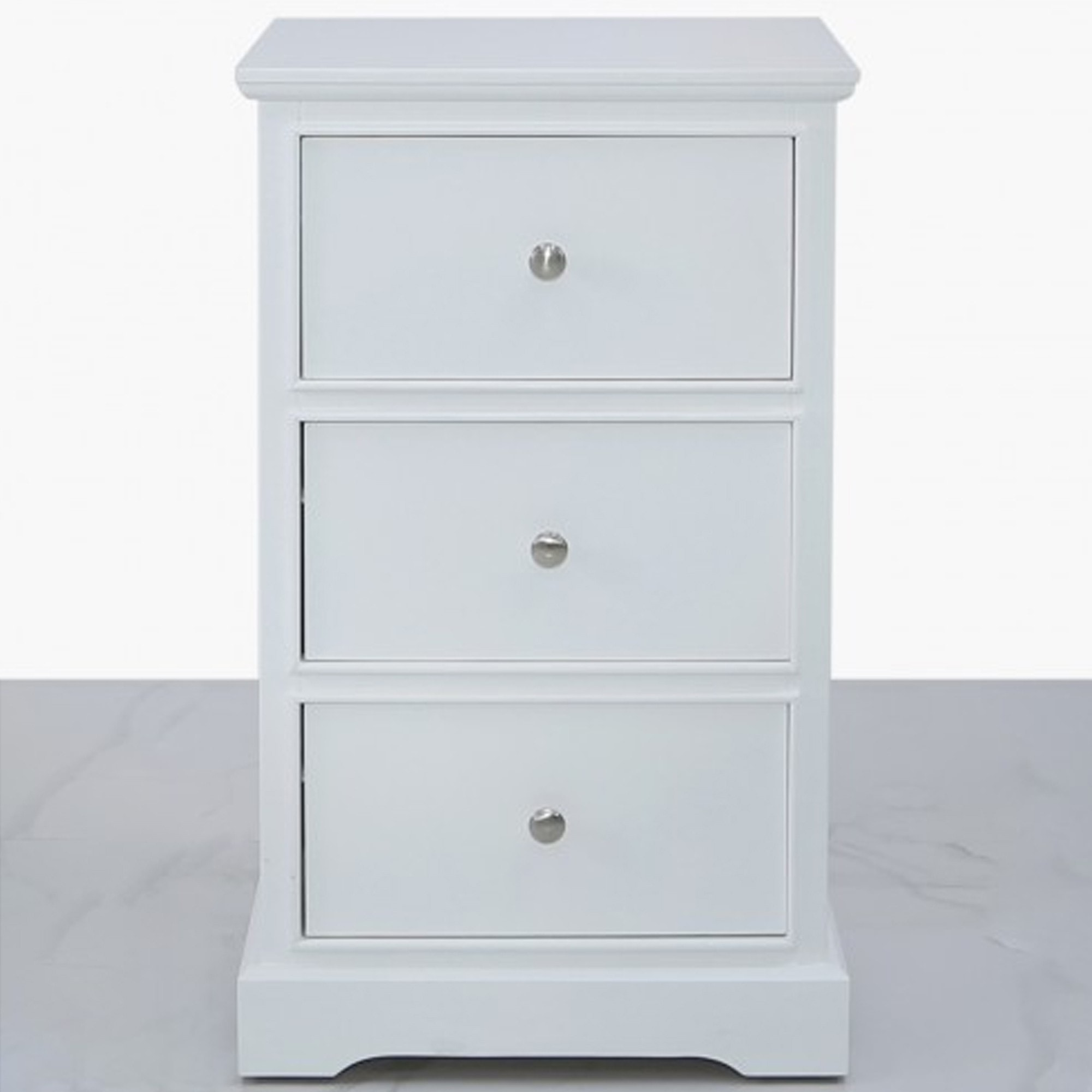 Picture of: Delta White 3 Drawer Bedside Cabinet White Wooden Bedside Cabinet
