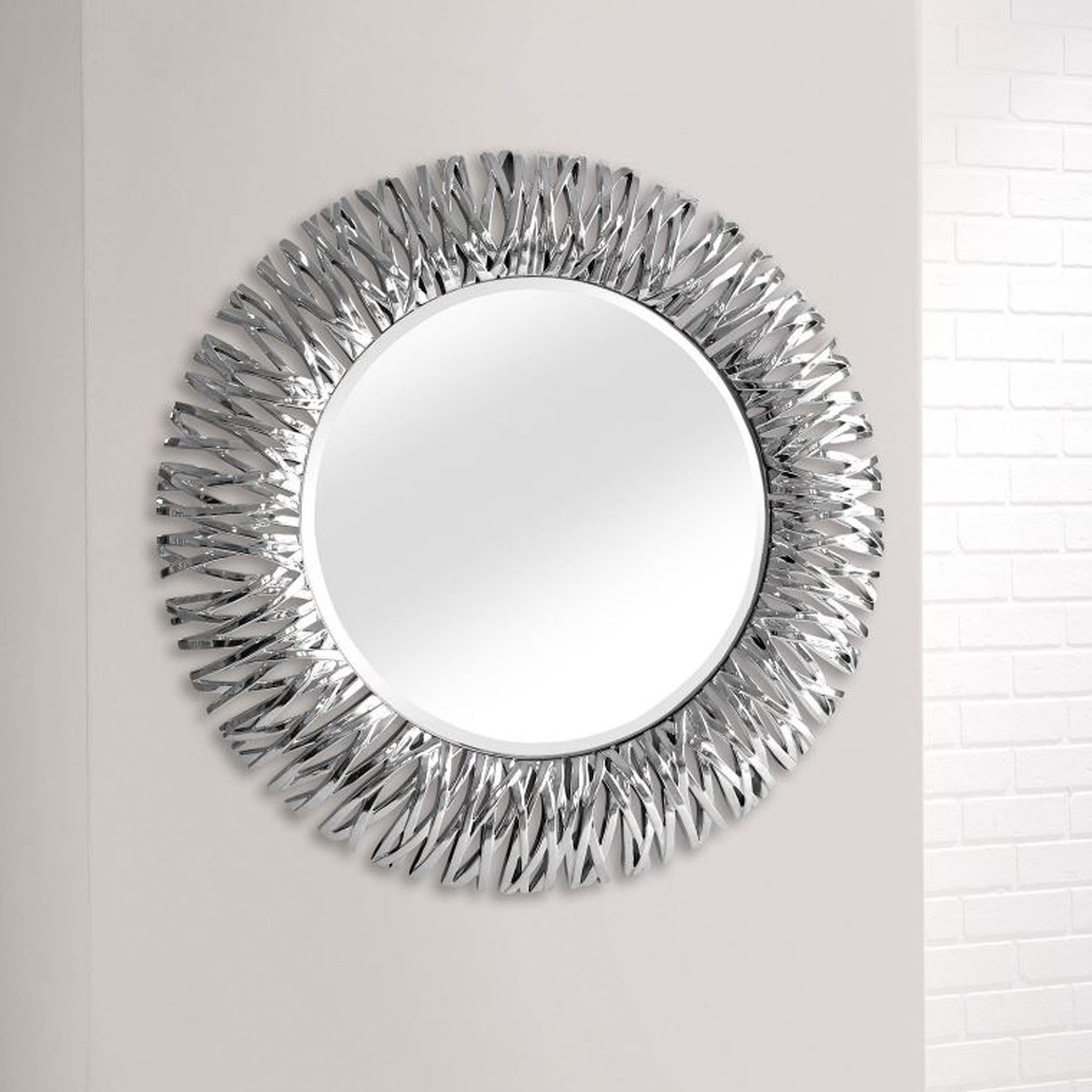 Detailed Chrome Silver Round Wall Mirror Contemporary