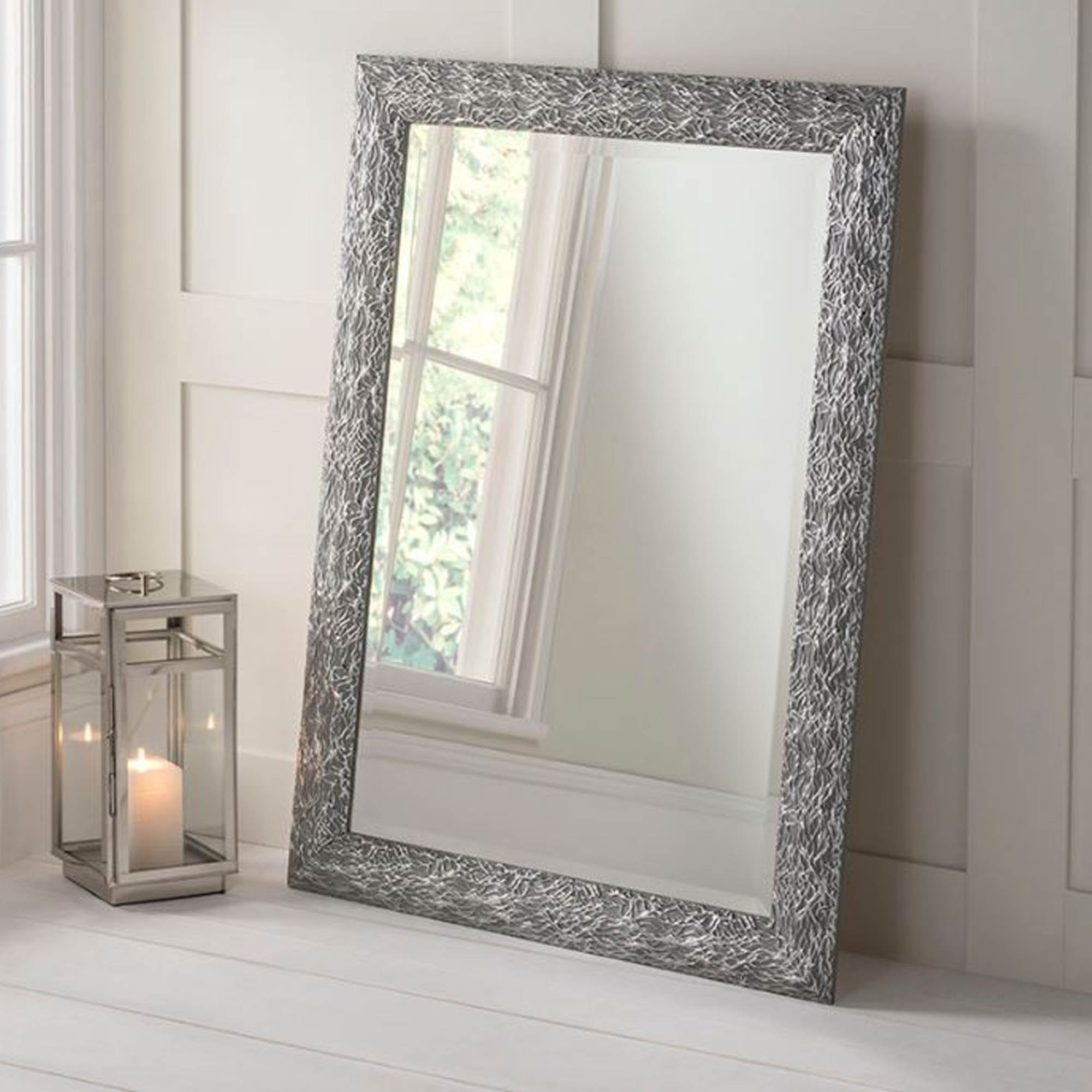 Detailed Rectangular Grey and Silver Wall Mirror | HD365 on Wall Mirrors id=54302