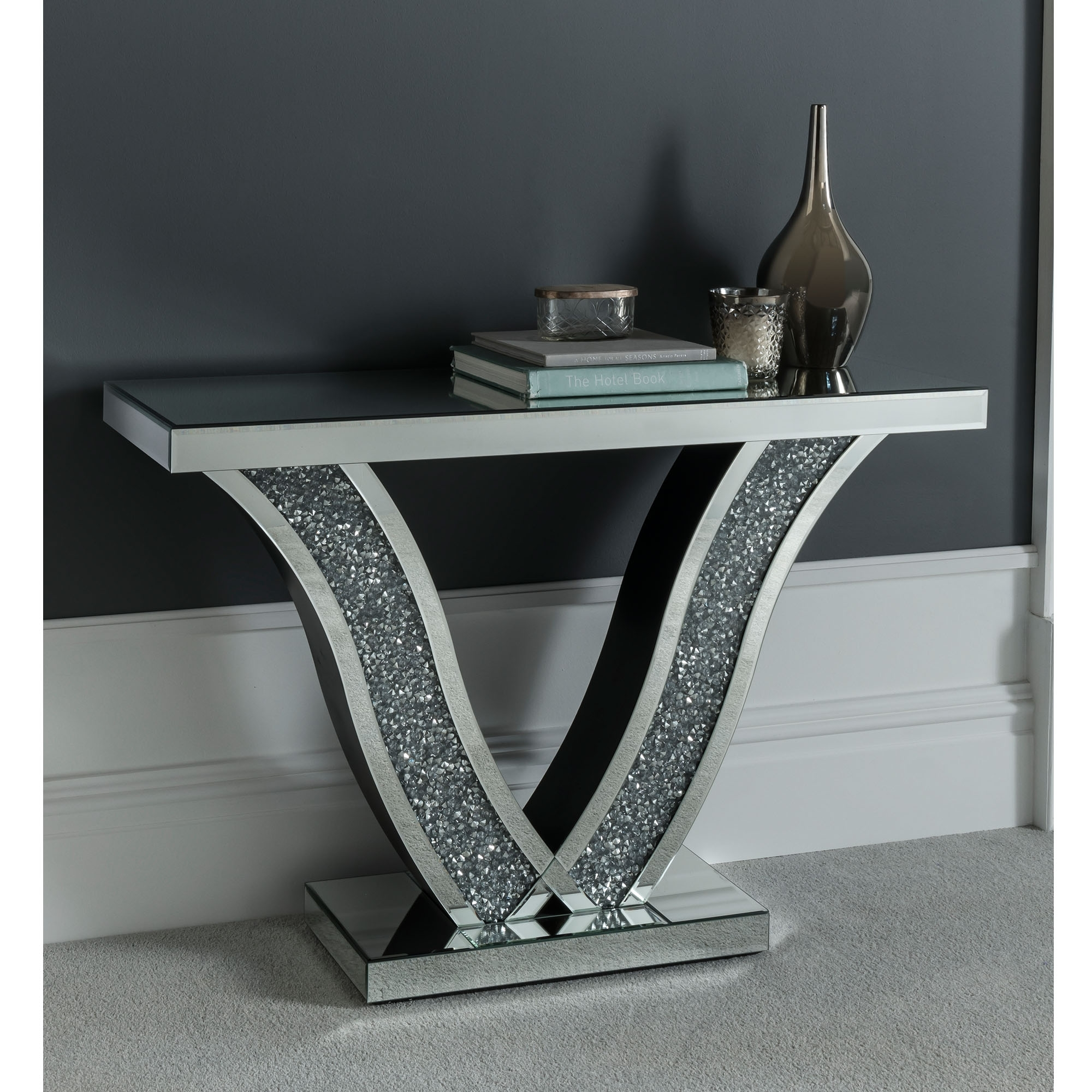 Diamond Mirrored Console Table Glass Mirrored Furniture