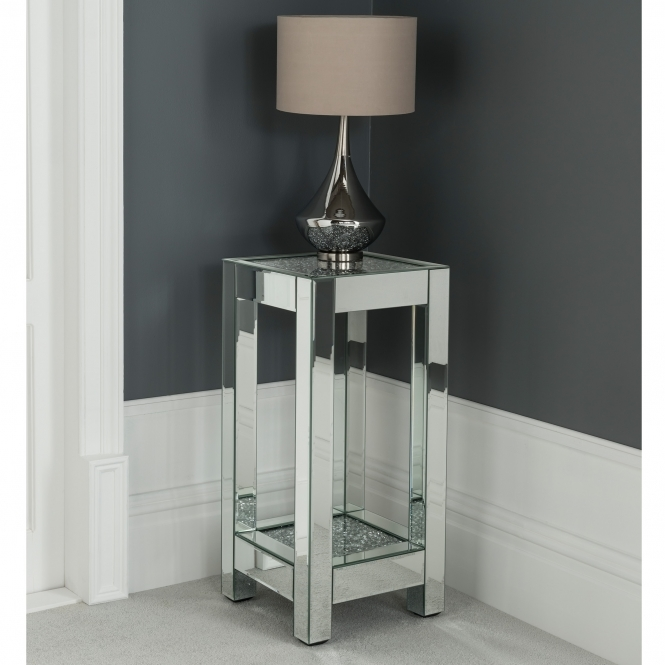 Diamond Mirrored Pedestal Plant Stand Venetian Glass