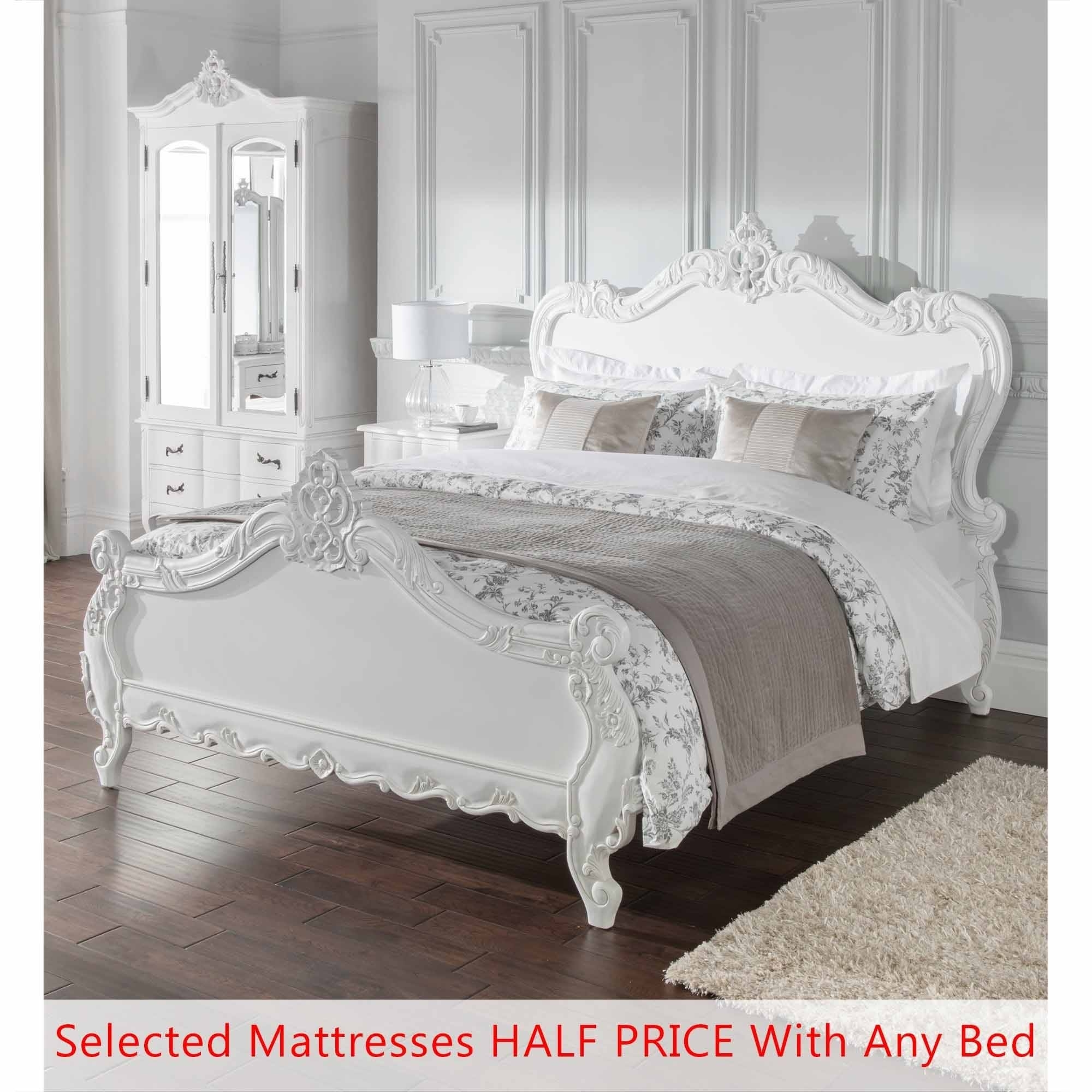 French furniture - Double Estelle Antique French Style Bed Bundle Deal