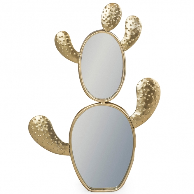 Double Gold Cactus Wall Mirror