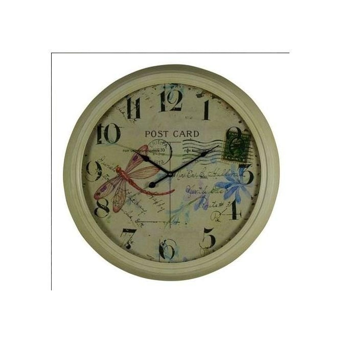 Dragonfly Postcard Iron Clock