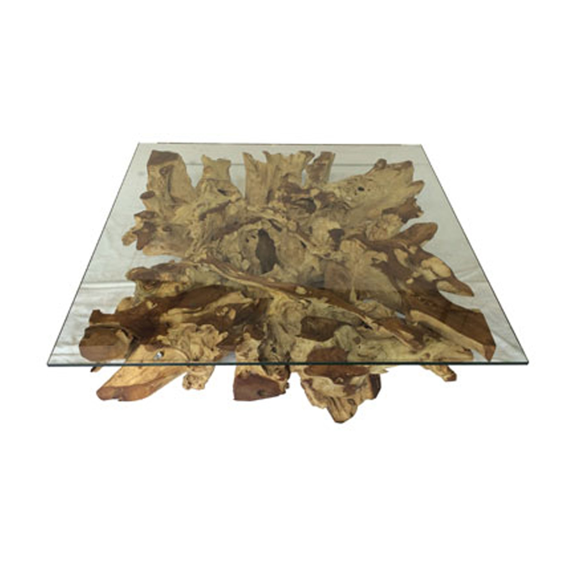 Driftwood And Glass Square Coffee Table Teak Root Spider Stone