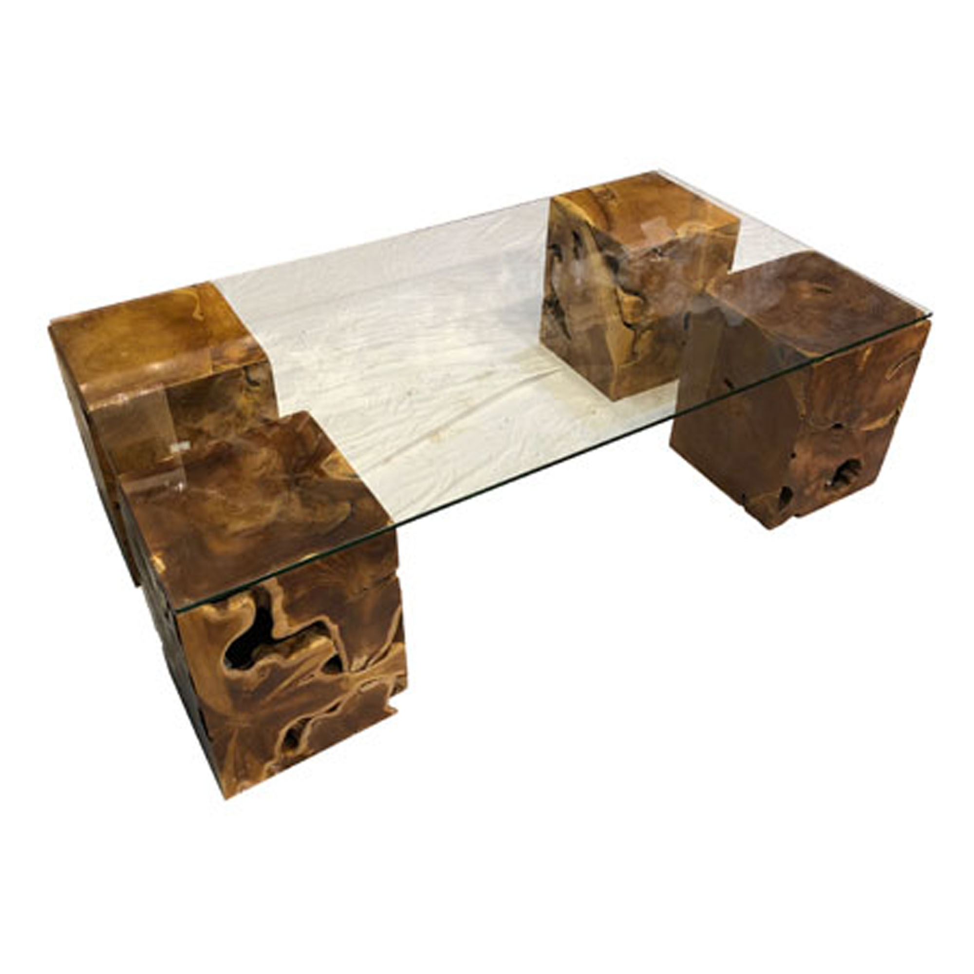Driftwood Coffee Table Teak Root Four Columns Rectangular Glass