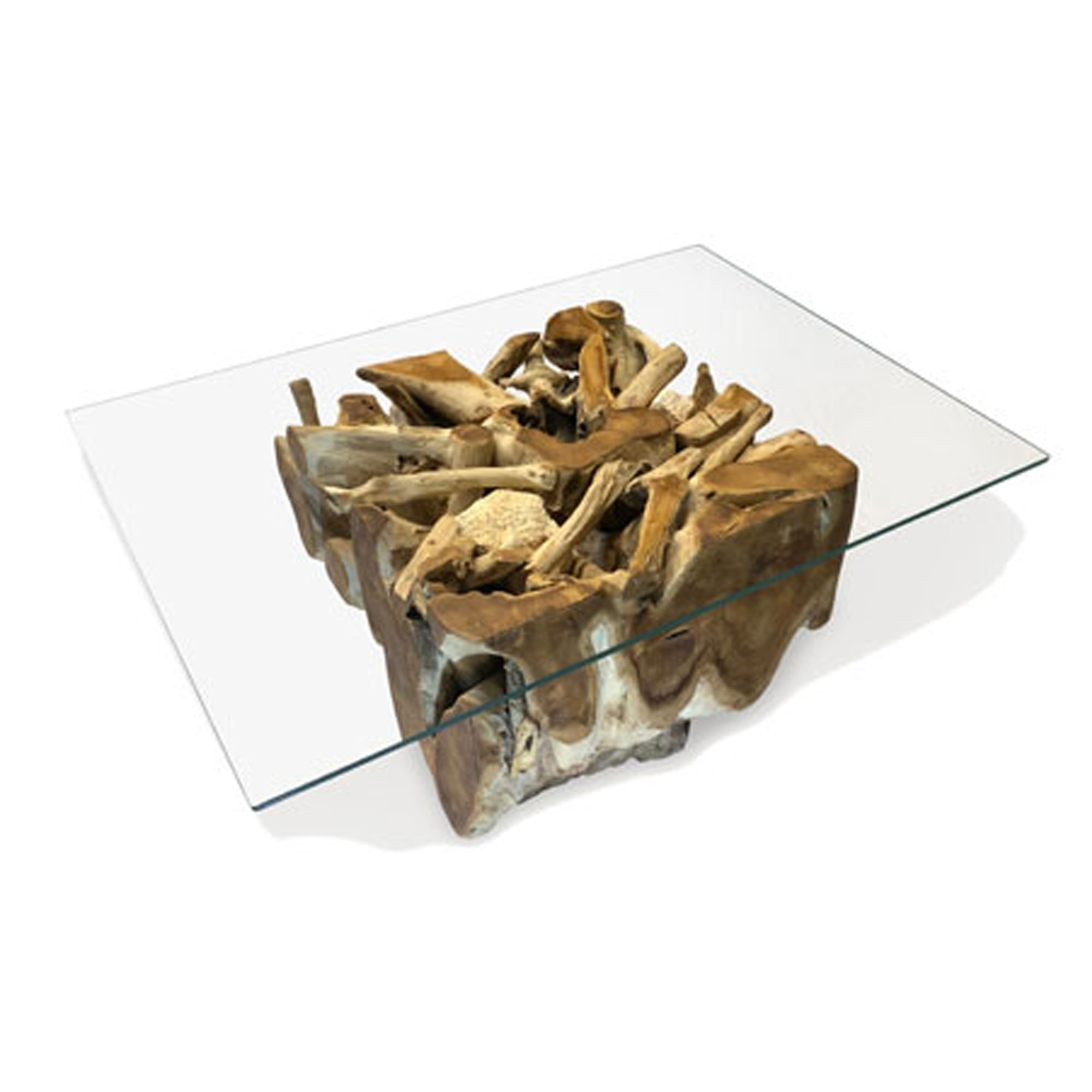 Driftwood Coffee Table Teak Root Spider Stone Rectangular Glass