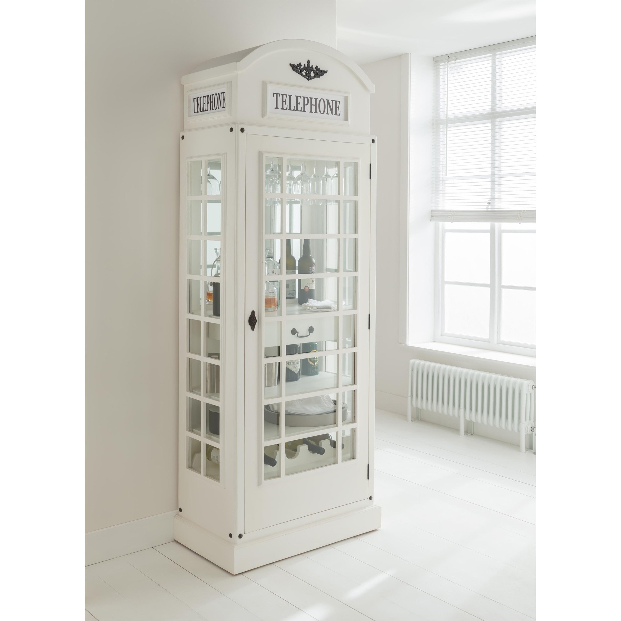 Picture of: White Drinks Cabinet In A Telephone Box Style Display Cabinet