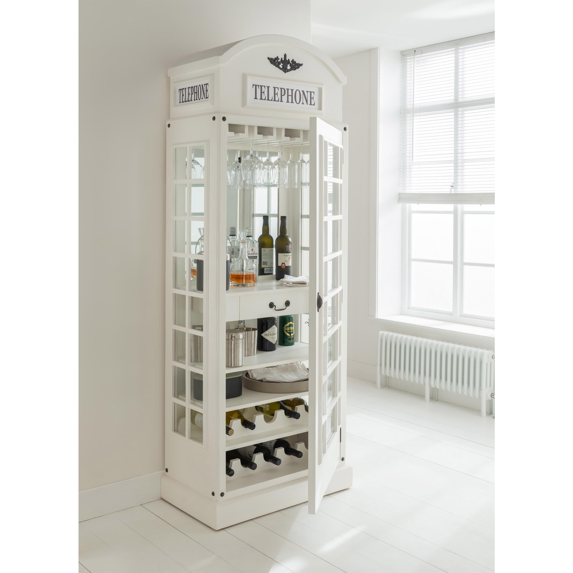 White Drinks Cabinet In A Telephone Box Style Display Cabinet