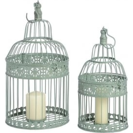 Duck Egg Metal Birdcage Lanterns (Set of 2)