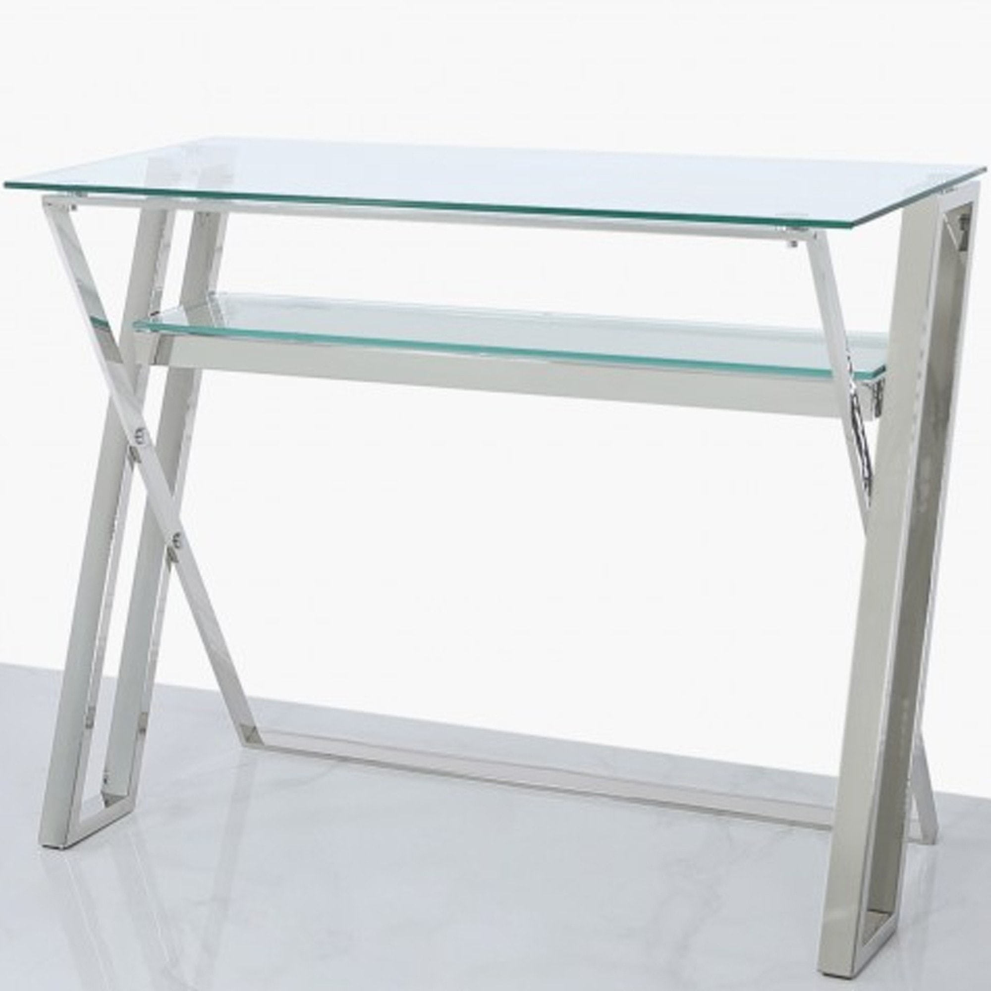 Dylan Stainless Steel Clear Glass Computer Desk Computer Table