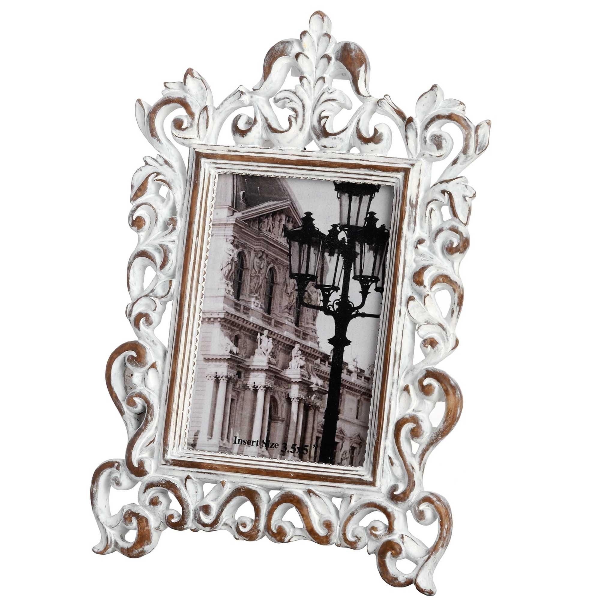 Elaborate Antique White 35 X 5 Photo Frame Homesdirect365
