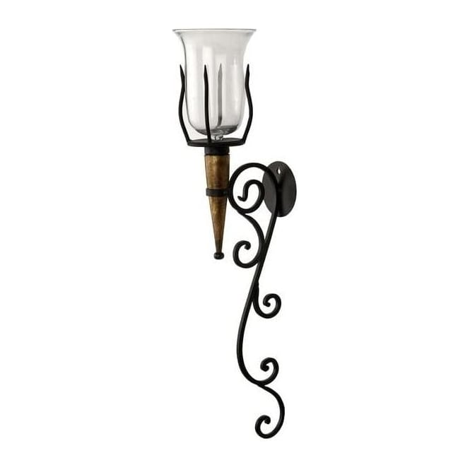 Elaborate Black Iron And Wood Sconce With Glass Bowl