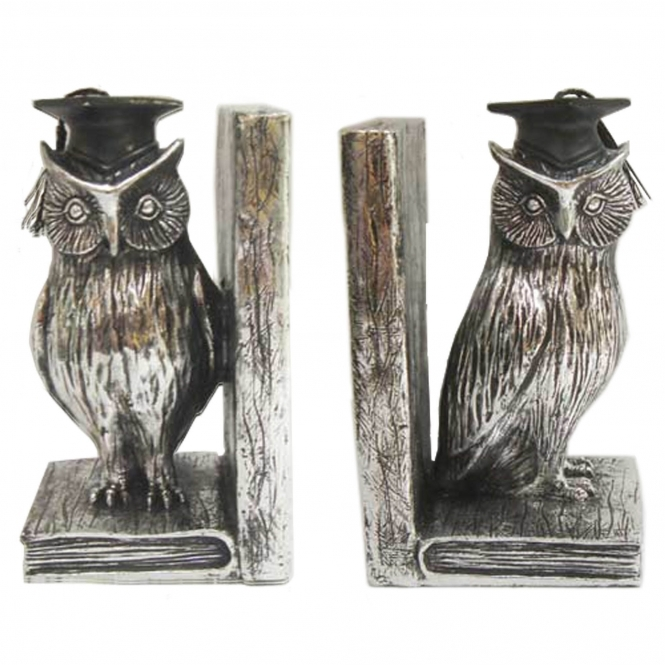 Electroplated Owl Bookends