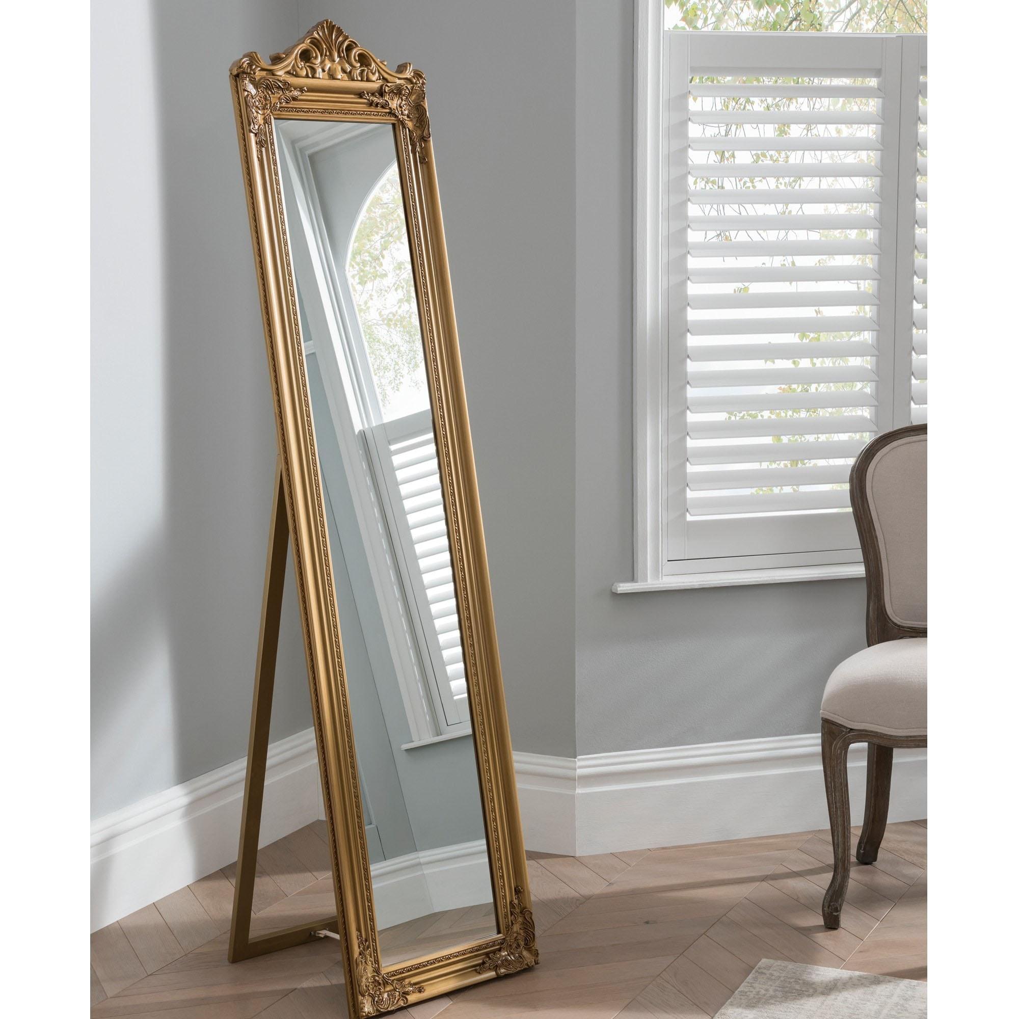 Elizabeth Gold Shabby Chic Antique Style Floor Standing Mirror