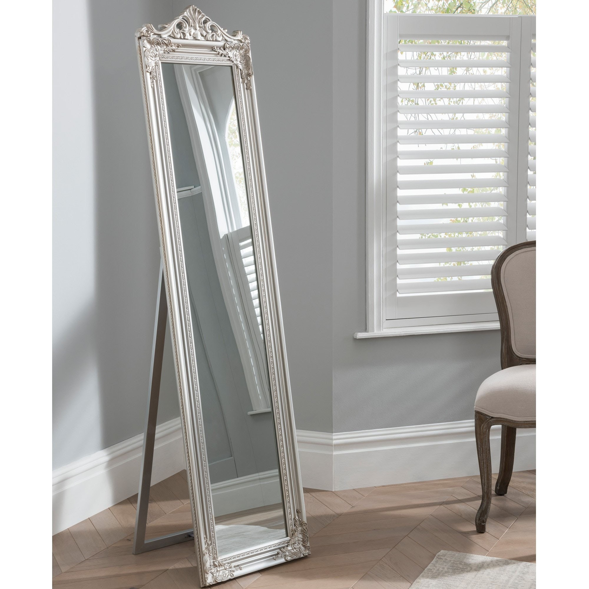 Elizabeth Silver Shabby Chic Antique Style Floor Standing