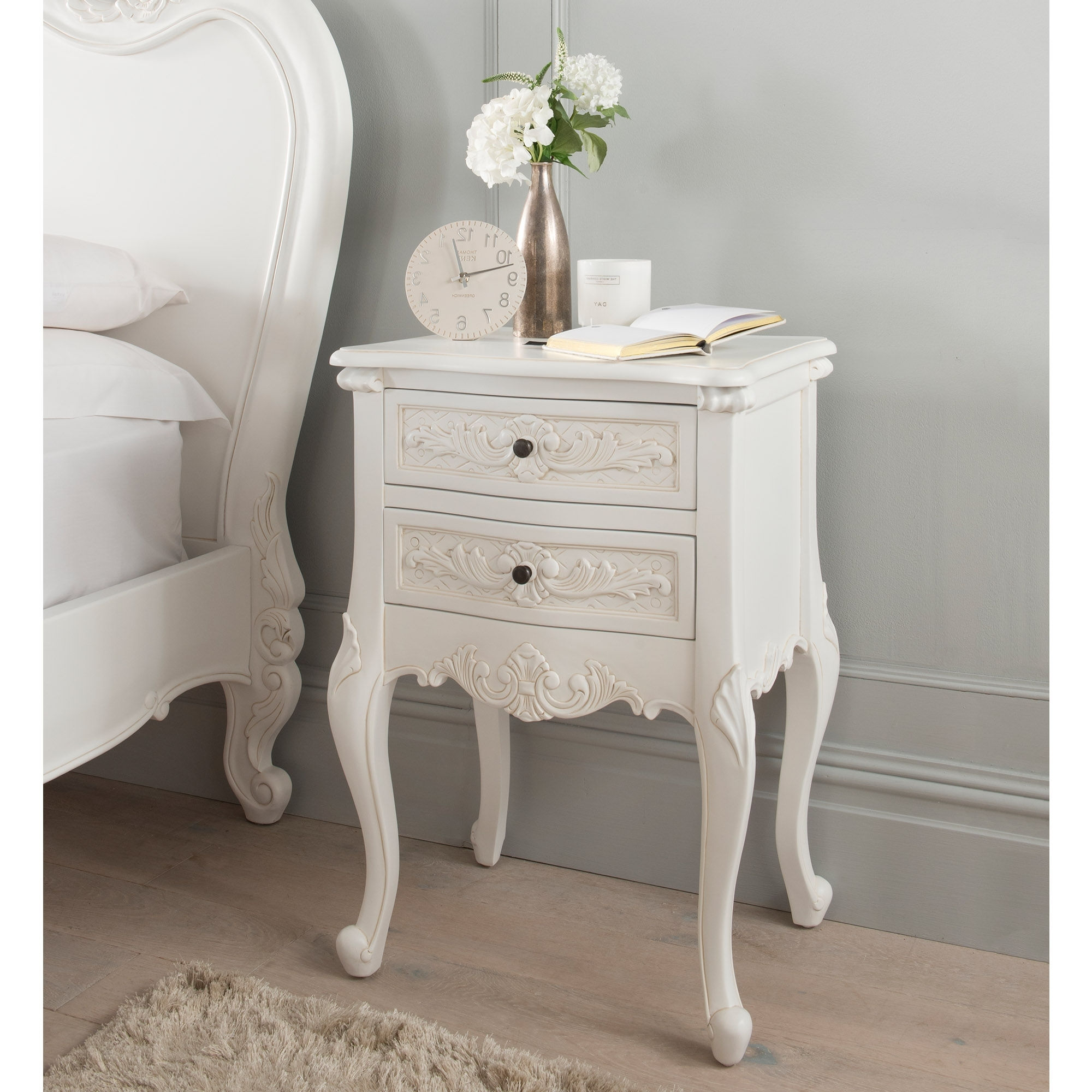 Antique French Style Bedside Table Shabby Chic Bedroom