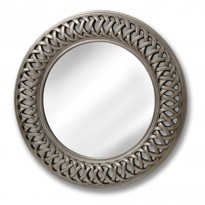 Entwined Lattice Silver Wall Mirror