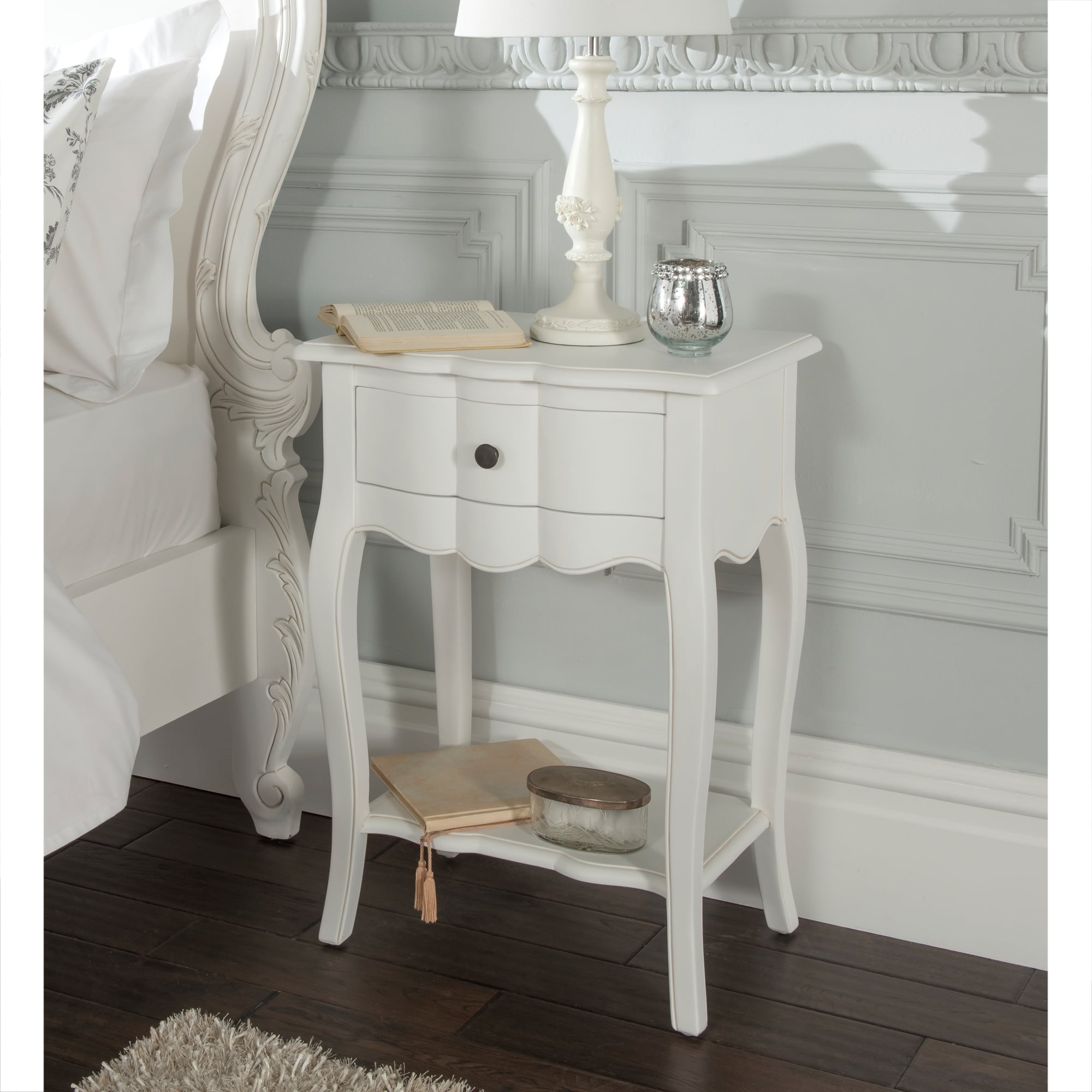 Delightful Upgrades 25 Creative Bedside Lighting Ideas: Estelle Antique French Style Bedside Table