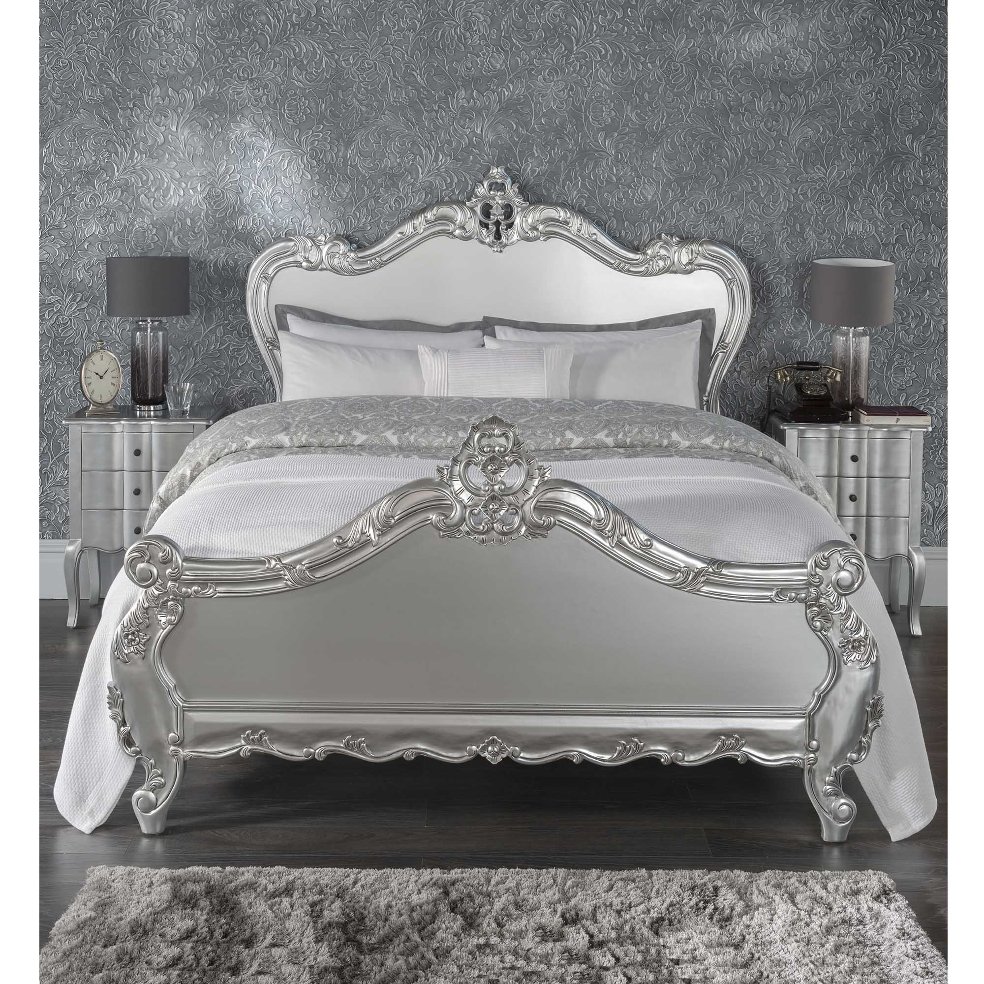 Antique french style bed french silver carved bed bedroom furniture