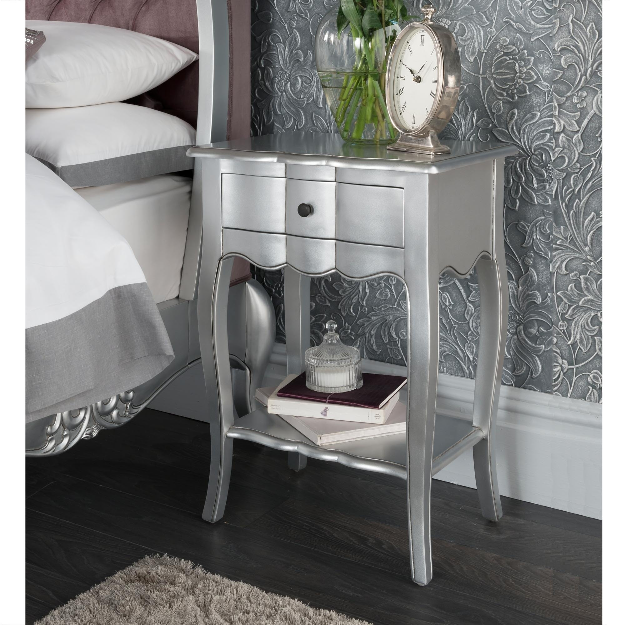 Estelle antique french style bedside table shabby chic estelle silver antique french style bedside table watchthetrailerfo