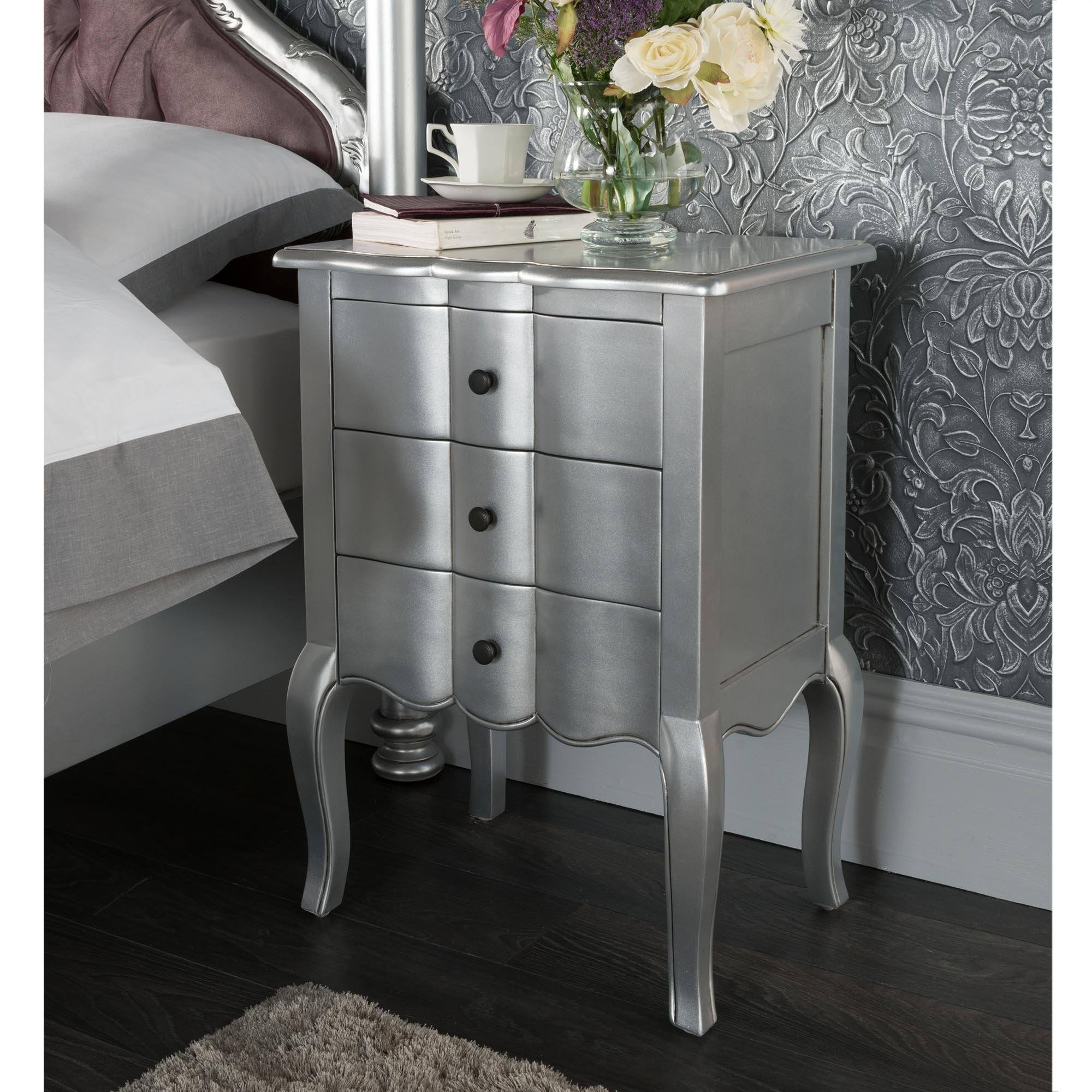 Silver French Bedside Tables | Buy French Silver Bedside Tables