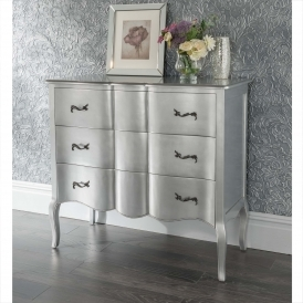 Estelle Silver Antique French Style Chest Of Drawers