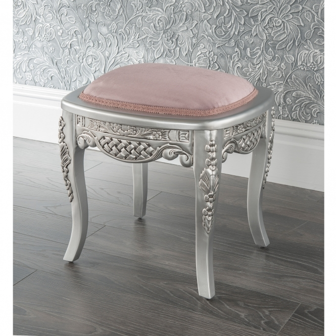 Estelle Silver Antique French Style Stool