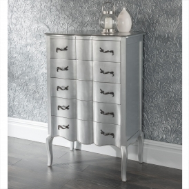 Estelle Silver Antique French Style Tallboy Chest