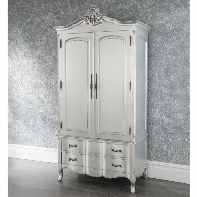 Estelle Silver Antique French Style Wardrobe