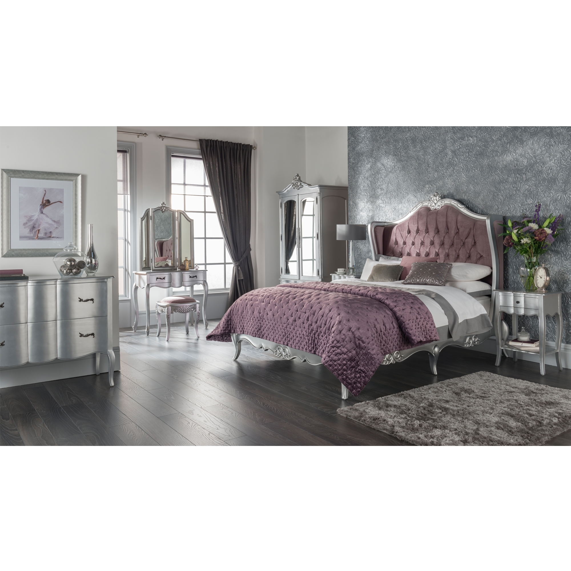 Estelle Silver Antique French Style Wing Back Bed