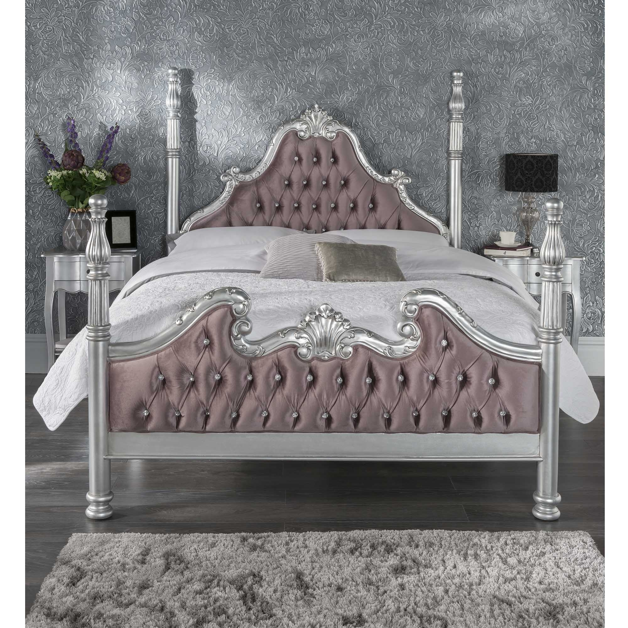 Silver Antique French Style Bed Shabby Chic Furniture