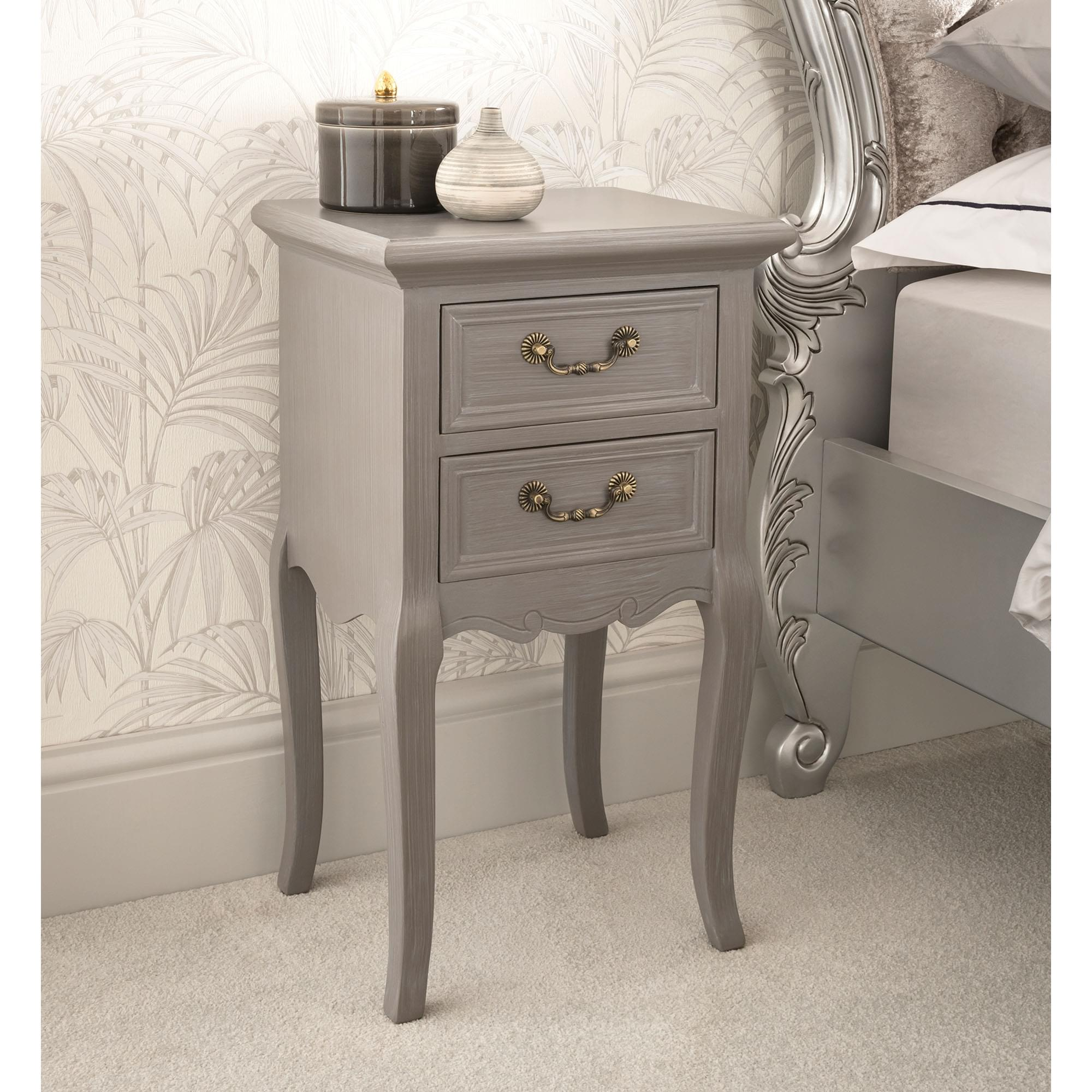 Grey Antique French Style Bedside Table French Bedsides Tables