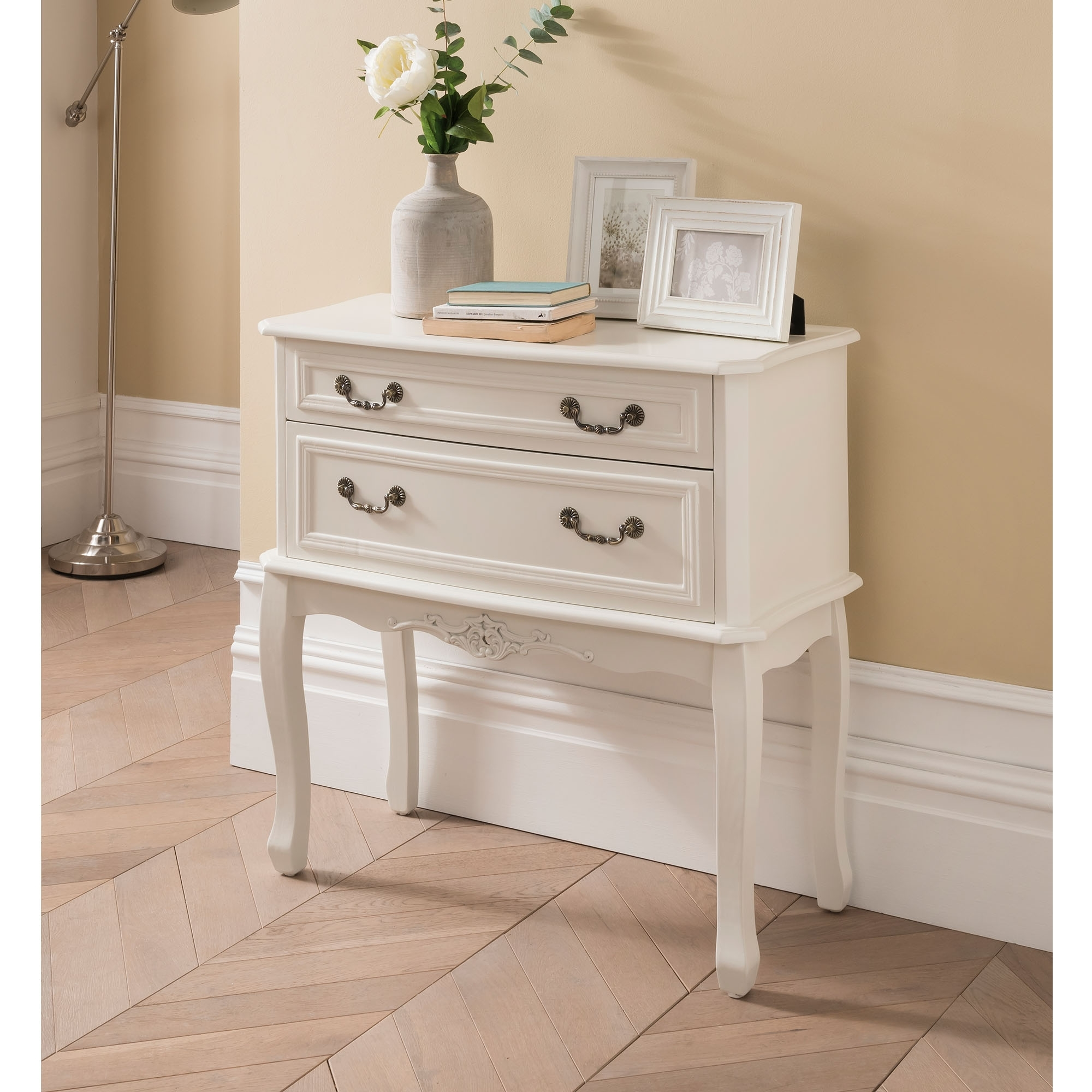 Etienne White 2 Drawer Antique French Style Chest Of Drawers French