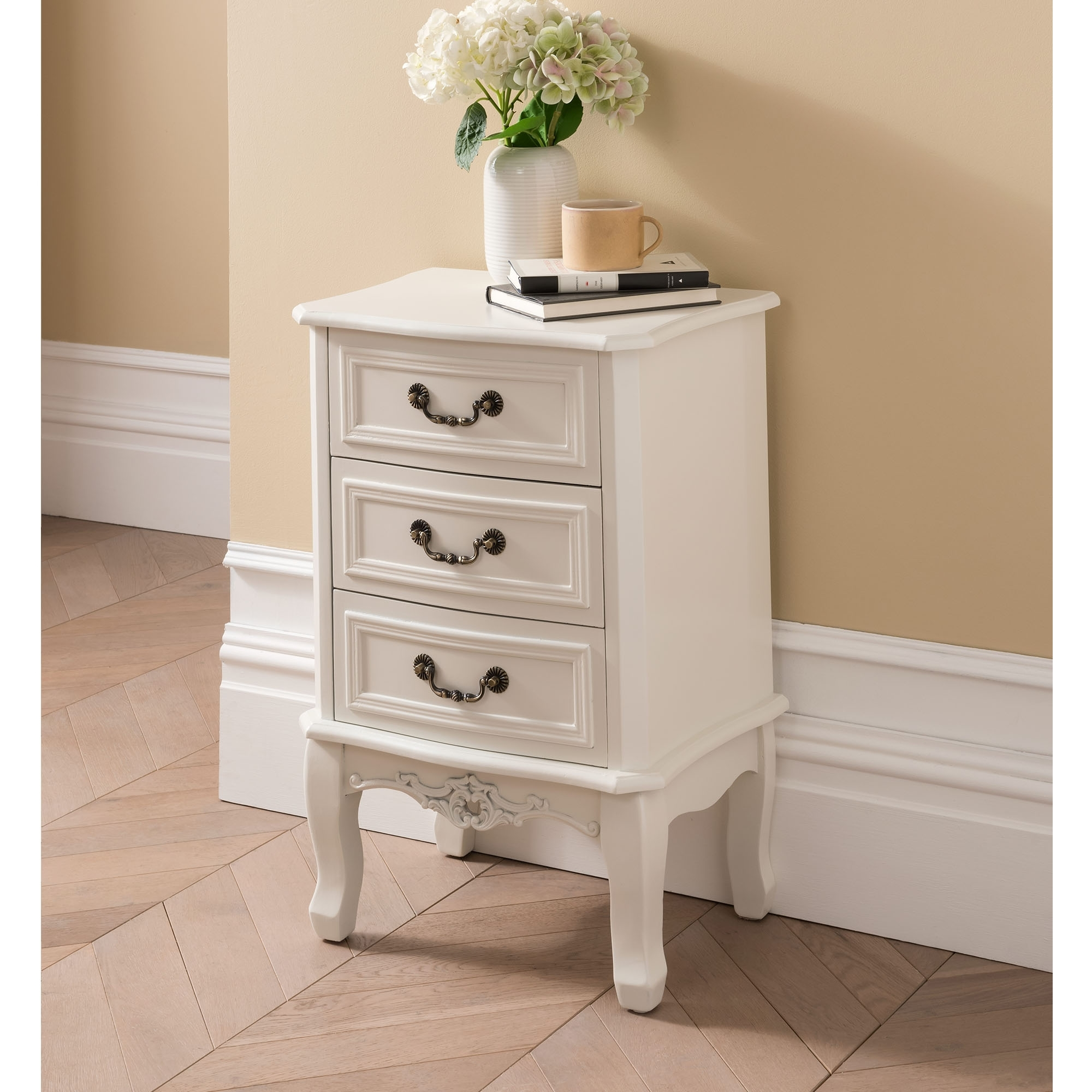 Etienne White 3 Drawer Antique French Style Bedside Table French