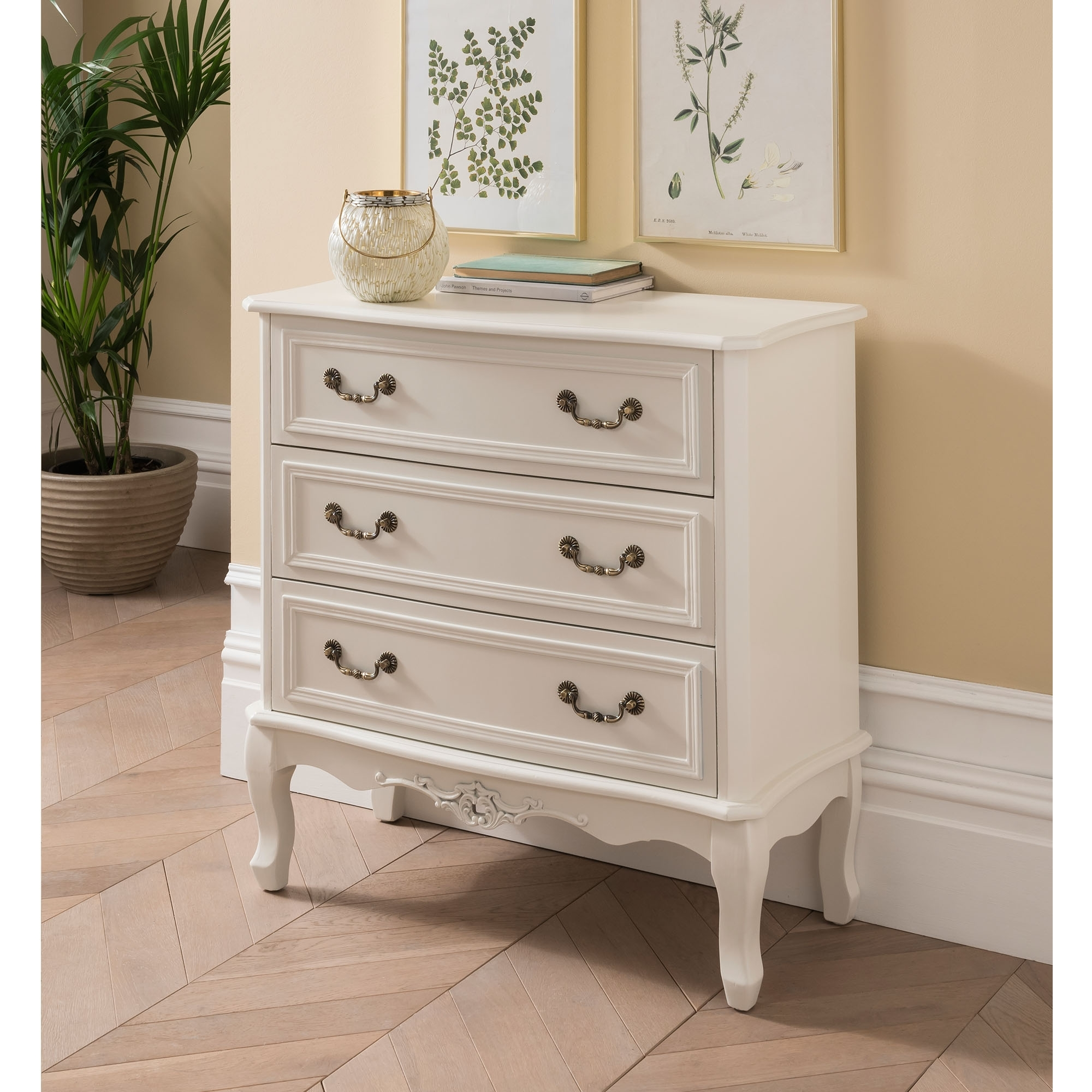 Etienne White 3 Drawer Antique French Style Chest Of
