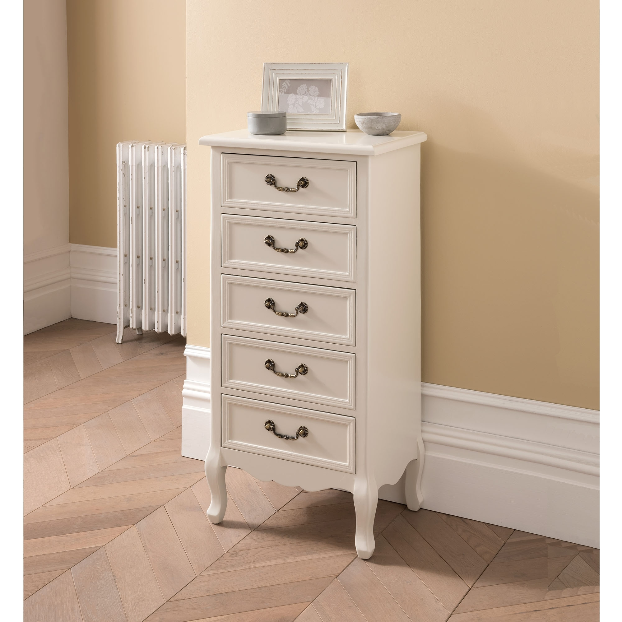 8836182af31b Etienne White 5 Drawer Antique French Style Tallboy Chest | Shabby Chic