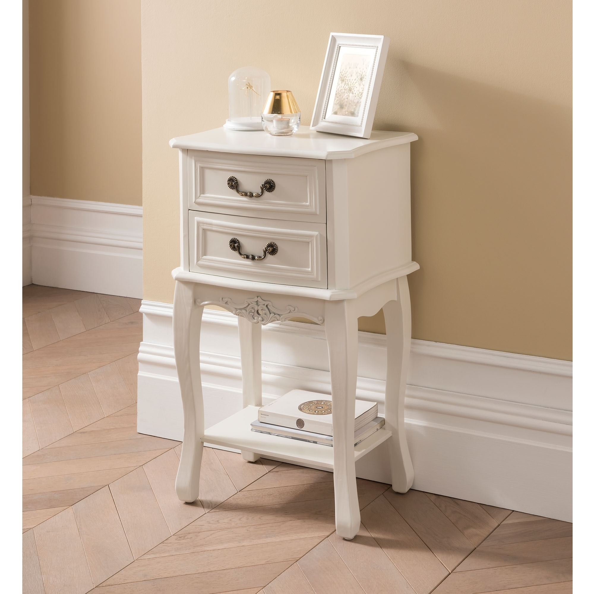 etienne white antique french style bedside table  french