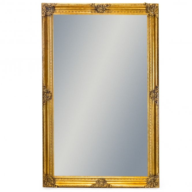 Extra Large Gold Rectangular Antique French Style Mirror