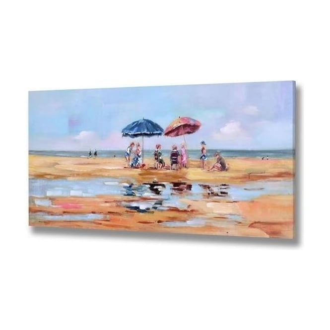 Families On Beach Handpainted Canvas