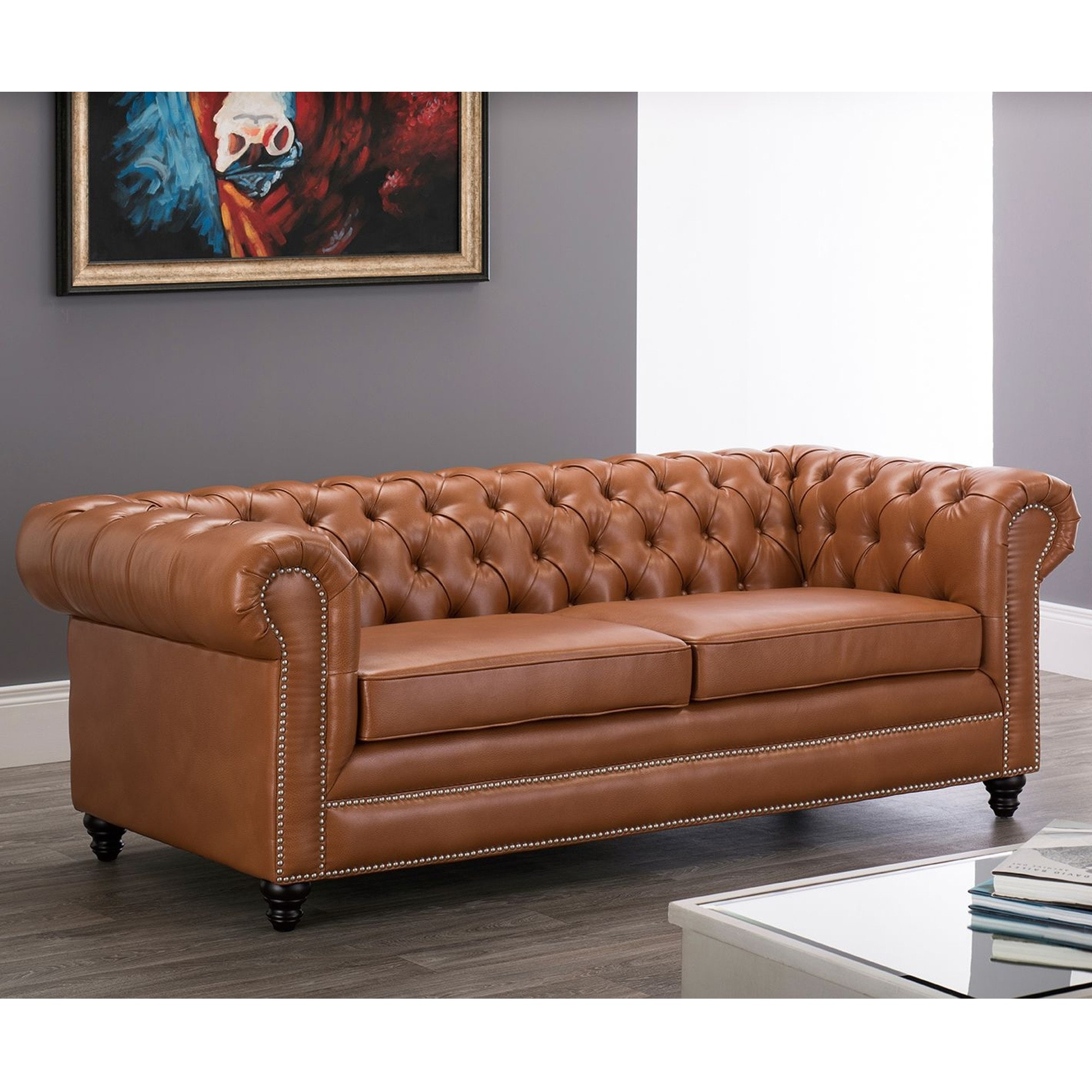 - Faux Leather Chesterfield 3 Seater Sofa-Tan Tan Chesterfield Sofa
