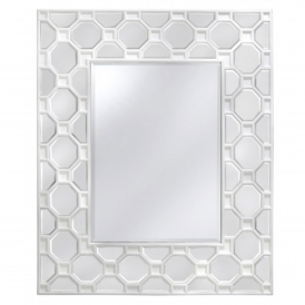 Feltre White Large Wooden Wall Mirror