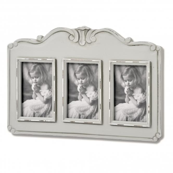 triple photo frame fleur photo frame finished in grey. Black Bedroom Furniture Sets. Home Design Ideas