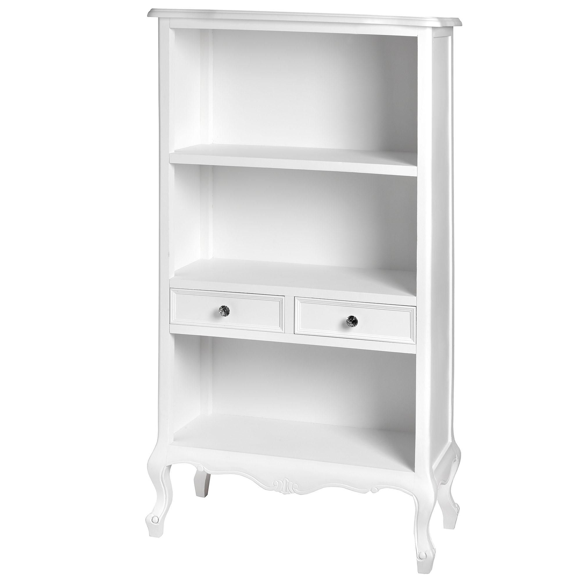 Fleur White 2 Drawer Shabby Chic Bookcase