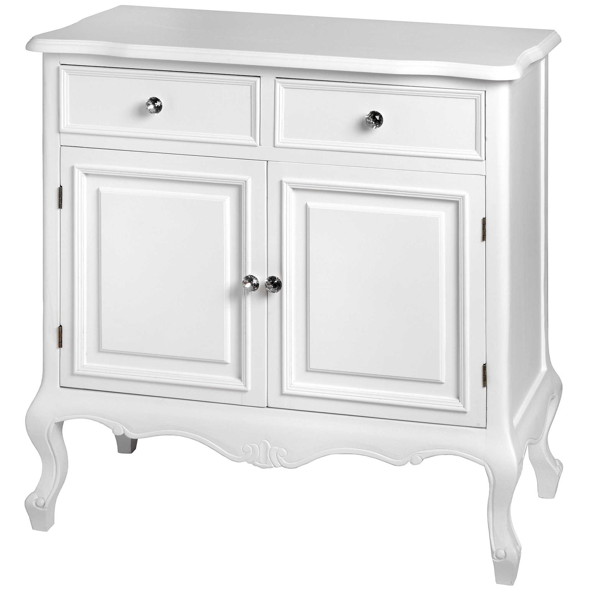 fleur white 2 drawer shabby chic sideboard homesdirect365. Black Bedroom Furniture Sets. Home Design Ideas